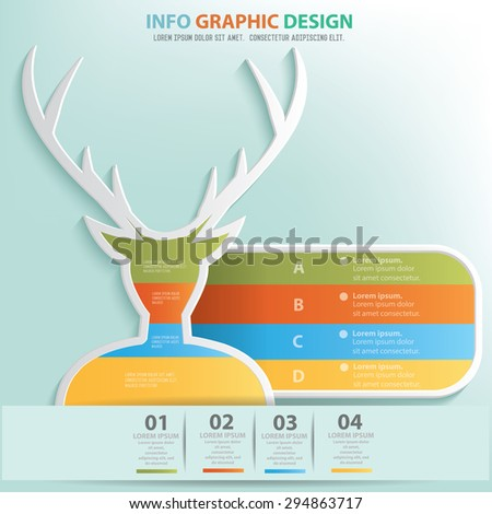 Deer info graphic design, Business concept design. Clean vector. - stock vector