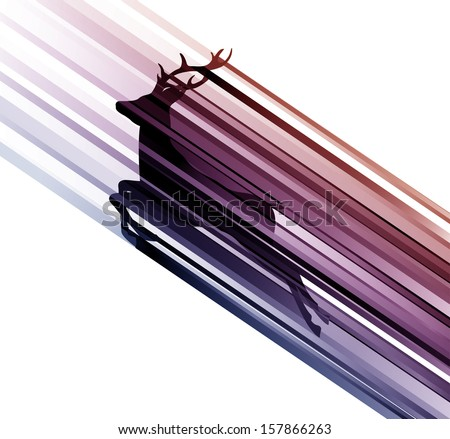 deer on the move, white background - stock vector