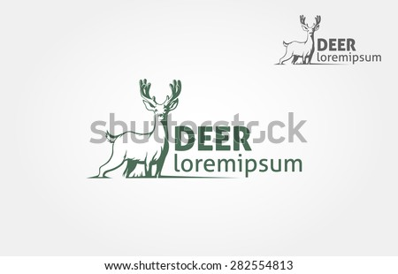 Deer silhouette standing on white  background. Vector logo Illustration  - stock vector
