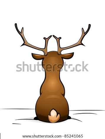 deer sitting in the snow - stock vector