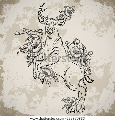 Deer standing on hind legs with bouquets of flowers in sketch style. Vintage vector hand drawn illustration on aged grunge background. Tattoo design, retro card, print, t-shirt, postcard, poster. - stock vector