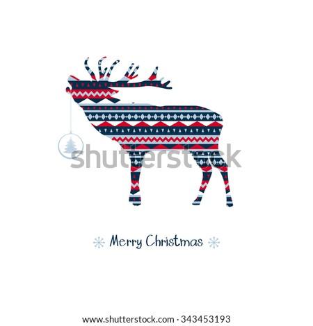 Deer vector badge. Merry Christmas! - stock vector