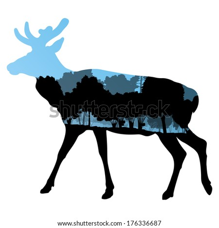 Deer wild animal silhouette in nature forest landscape abstract background illustration vector - stock vector