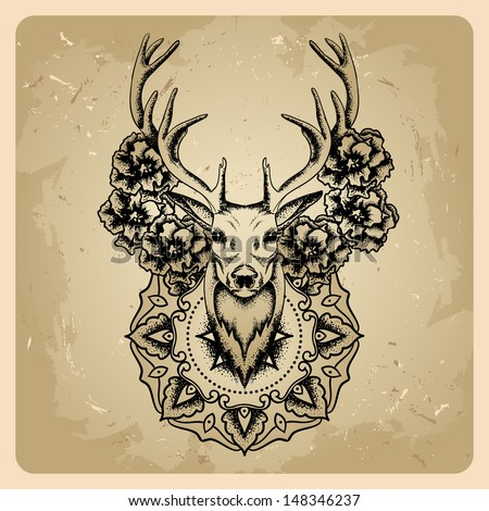 Deer with flowers and circle mandala - stock vector