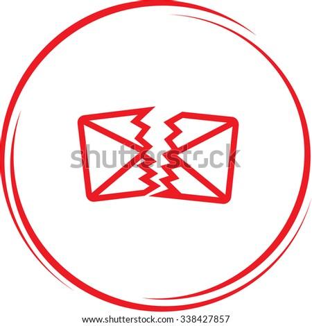 defective mail. Internet button. Vector icon. - stock vector