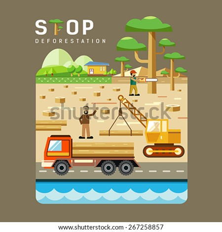Deforestation concepts flat design background. vector illustrations - stock vector