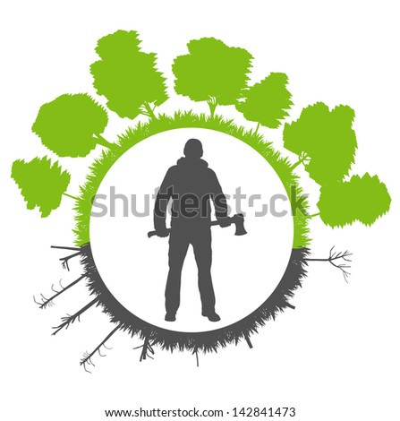 Deforestation on green ecology planet vector background concept - stock vector
