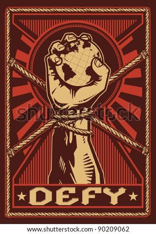 Defy Propaganda Poster - stock vector