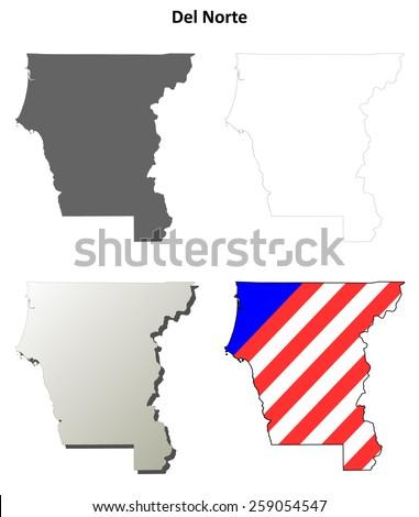 Del Norte County (California) outline map set - stock vector