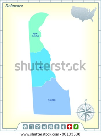 Delaware State Map with Community Assistance and Activates Icons Original Illustration - stock vector