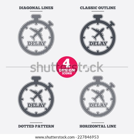 Delayed flight sign icon. Airport delay timer symbol. Airplane icon. Diagonal and horizontal lines, classic outline, dotted texture. Pattern design icons.  Vector - stock vector
