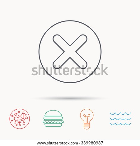 Delete icon. Decline or Remove sign. Cancel symbol. Global connect network, ocean wave and burger icons. Lightbulb lamp symbol. - stock vector