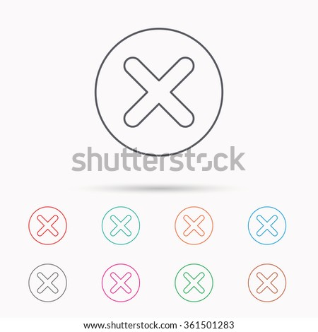 Delete icon. Decline or Remove sign. Cancel symbol. Linear icons on white background. - stock vector