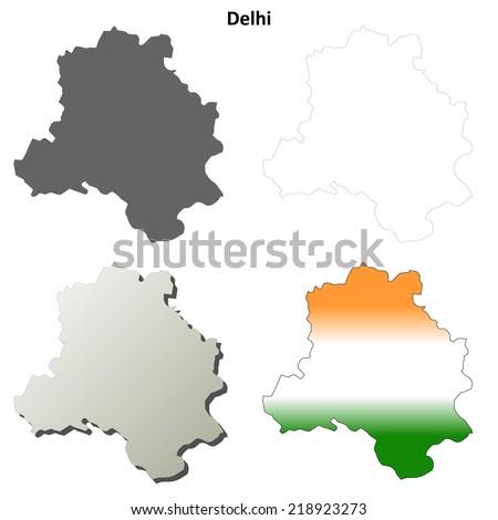 Delhi blank detailed outline map set - vector version - stock vector
