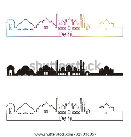 Delhi skyline linear style with rainbow in editable vector file - stock vector