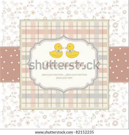 delicate babies twins shower card - stock vector