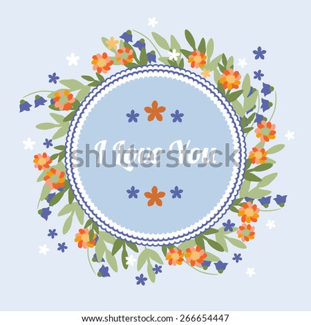 Delicate blue simple greeting card with orange flowers - stock vector