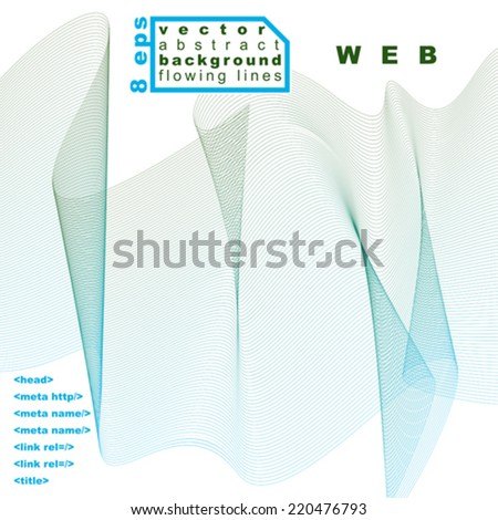Delicate dimensional flowing stripy lines, dreamy vector abstract background with web design elements, motif light green template. - stock vector