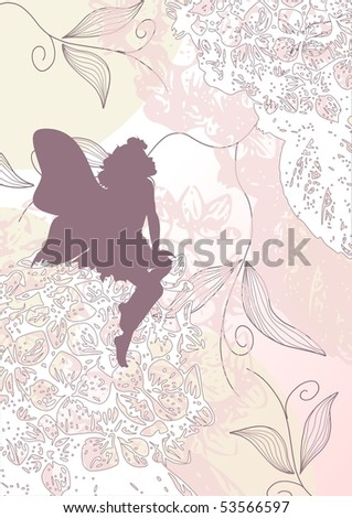Delicate fairy shape with flowers, raster version also available in my portfolio - stock vector
