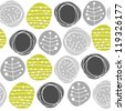 delicate floral gray green retro pattern with patterned circles on white background - stock vector