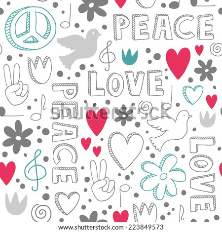 Delicate hand-drawn seamless pattern with symbols of peace - doves, hearts, peace signs, flowers and lettering, - white doodles on white background - stock vector