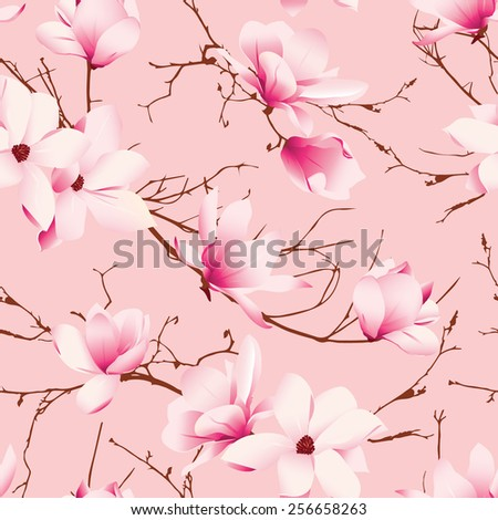 Delicate magnolia flowers pink seamless vector pattern  - stock vector