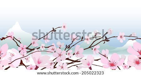 Delicate pink fresh spring Japanese flowering cherry blossom in a horizontal pattern with a backdrop of snowy mountain peaks against a pastel blue sky  vector illustration - stock vector