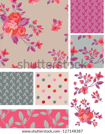 Delicate Pink Vector Rose Seamless Patterns and Elements. Use as fills, digital paper, or print off onto fabric to create unique items. Would look stunning printing onto silk. - stock vector
