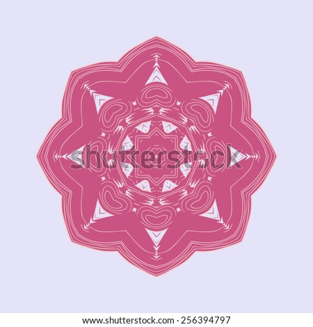Delicate red rose Indian mandala pattern on a light background. - stock vector