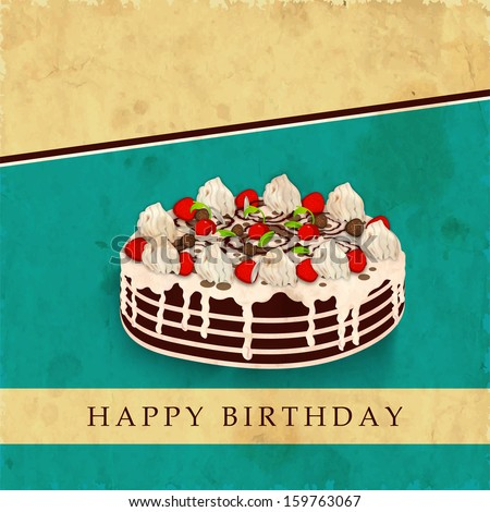 Delicious birthday cake on vintage brown and green abstract background.  - stock vector