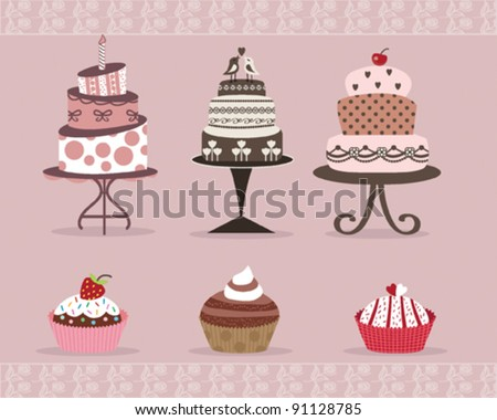Delicious Cakes and Cup Cakes Design on Pink Background - stock vector