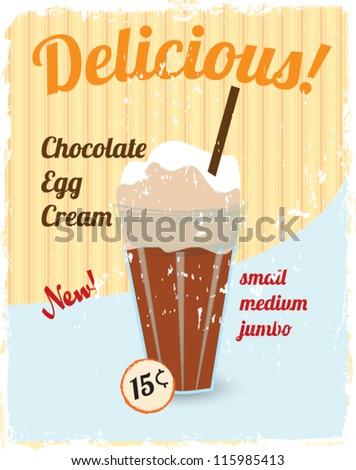delicious chocolate egg cream vintage style vector illustration - stock vector