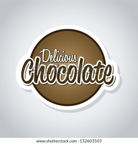 delicious chocolate letters over gray background. vector - stock vector