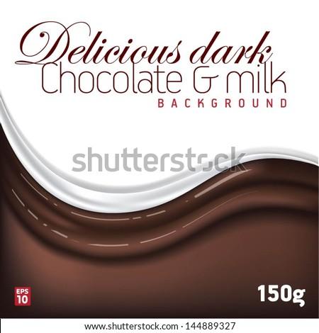 Delicious dark chocolate & milk background - stock vector