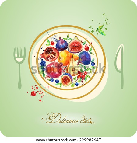 Delicious diet. Fruit nutrition.   Fruit on the plate.   Watercolor fruit. Illustration with ripe fruit. - stock vector