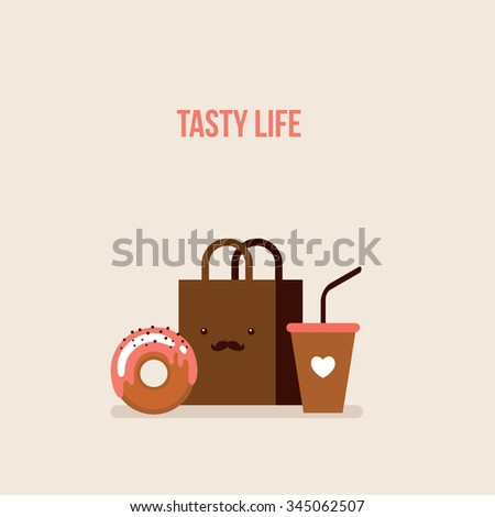 Delicious donut Coffee Shopping bag Online food order flat design - stock vector