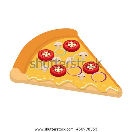Delicious fast food italian pizza isolated flat icon, vector illustration graphic design. - stock vector