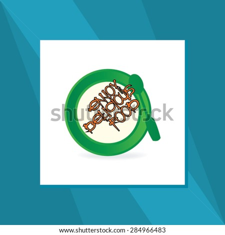delicious food concept with food plate vector illustration  - stock vector