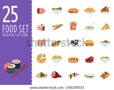 Delicious food, different cuisines of the world in a modern style flat - stock vector