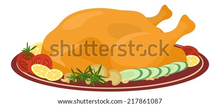 Delicious food on plate, Thanksgiving roasted turkey with tomatoes, cucumbers, mushrooms, lemons and rosemary isolated on white background. Vector - stock vector