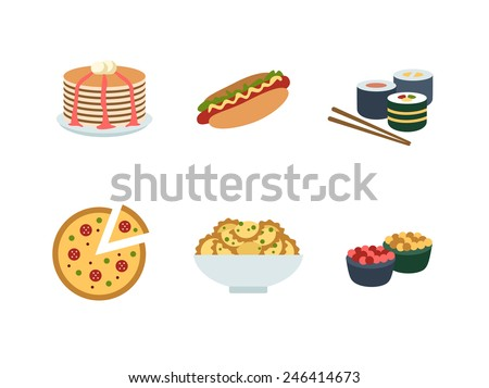 delicious pictures on the theme of food, different dishes and cuisines - stock vector