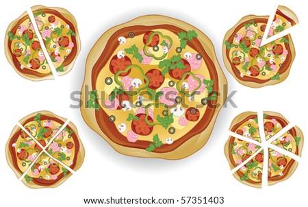 delicious pizza - stock vector