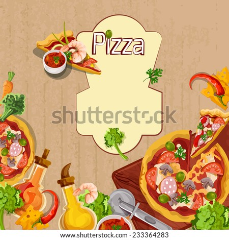 Delicious pizza cut food slices and seasoning background template vector illustration - stock vector