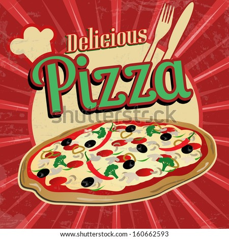 Delicious pizza poster in vintage style, vector illustration - stock vector