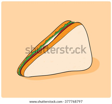 Delicious Sandwich, a hand drawn vector illustration of a delicious sandwich, isolated on a simple background (editable). - stock vector