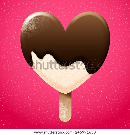 Delicious vanilla ice cream with chocolate melted top, vector graphic bright sweet food icon  - stock vector