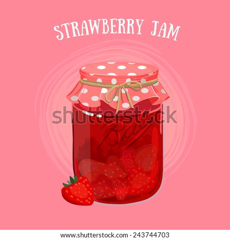 Delicious vegan jam in a jar, made of ripe juicy strawberry covered with textile cap. - stock vector