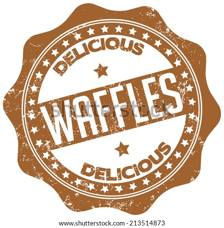 delicious waffles stamp - stock vector