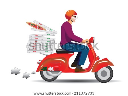 Deliver pizza - stock vector