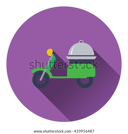 Delivering motorcycle icon. Flat design. Vector illustration. - stock vector